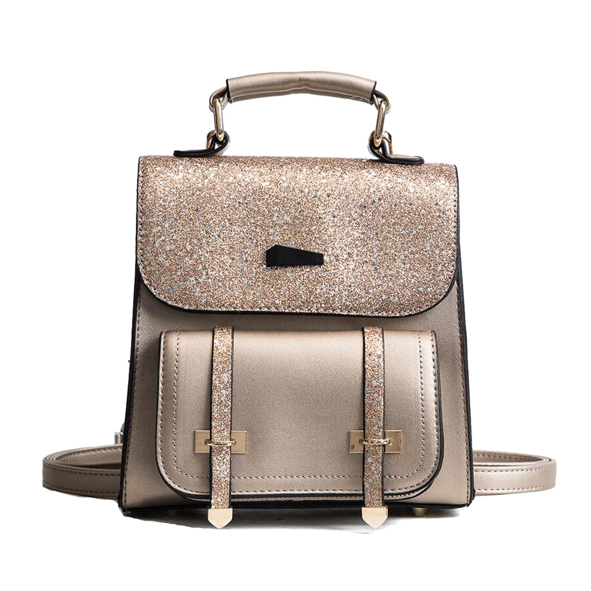 Women Girls Bling Flap Backpacks Shoulder Bags Cross Purses Outdoor Travel Daypacks (gold)