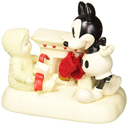 Department 56 Snowbabies and Disney At the Mantel with Mickey Porcelain Figurine, 4.75