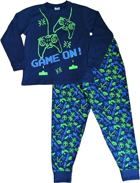 Pijama largo para niños con mensaje: «Game On», invasor del espacio, talla de 7 a 14 años, color verde y azul Azul azul 7-8 Años: Amazon.es: Ropa y accesorios