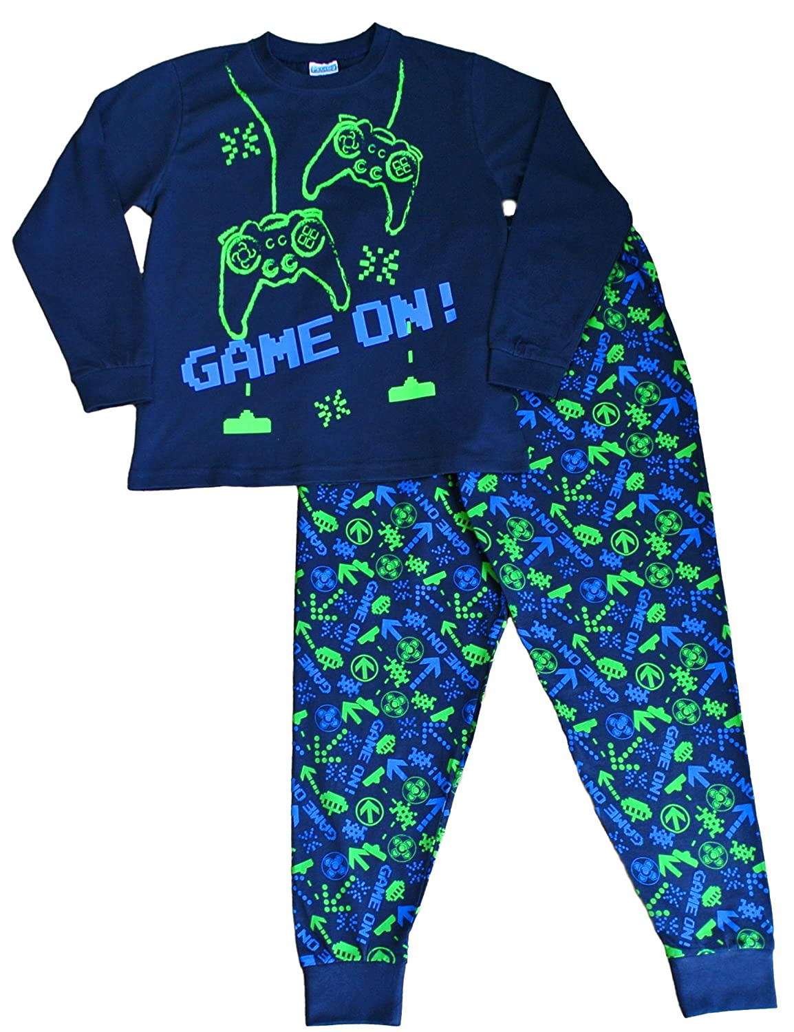 Boy's Space Invader Game On Controller Long Pyjamas 7-16 Years Green Navy