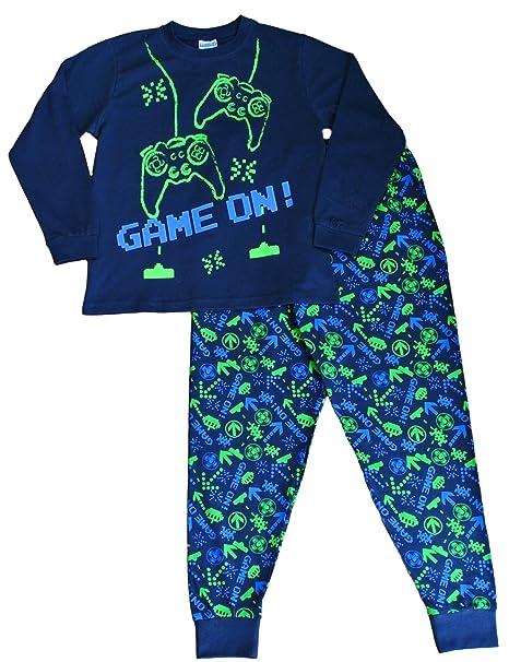 Pijama largo para niños con mensaje: «Game On», invasor