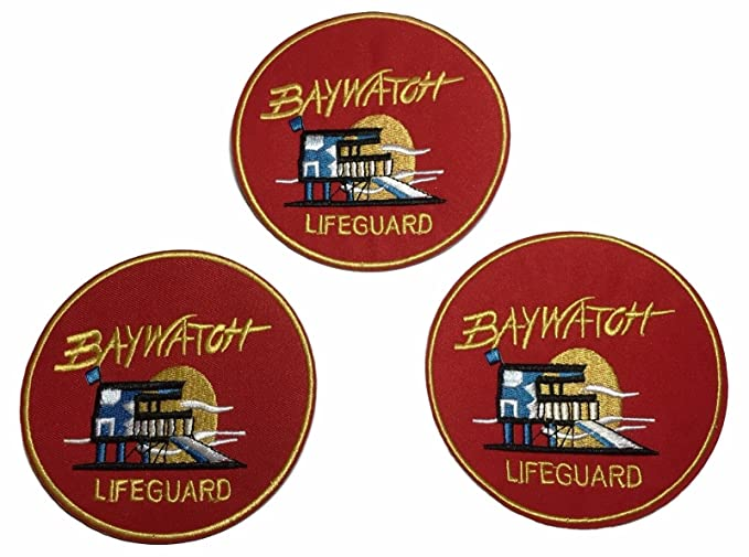 Baywatch lifeguard replica logo patch david hasselhoff mitch.