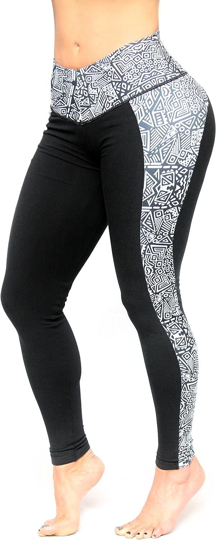 Black Legging with Black Pattern Stamped on Side Internal Body Shaper