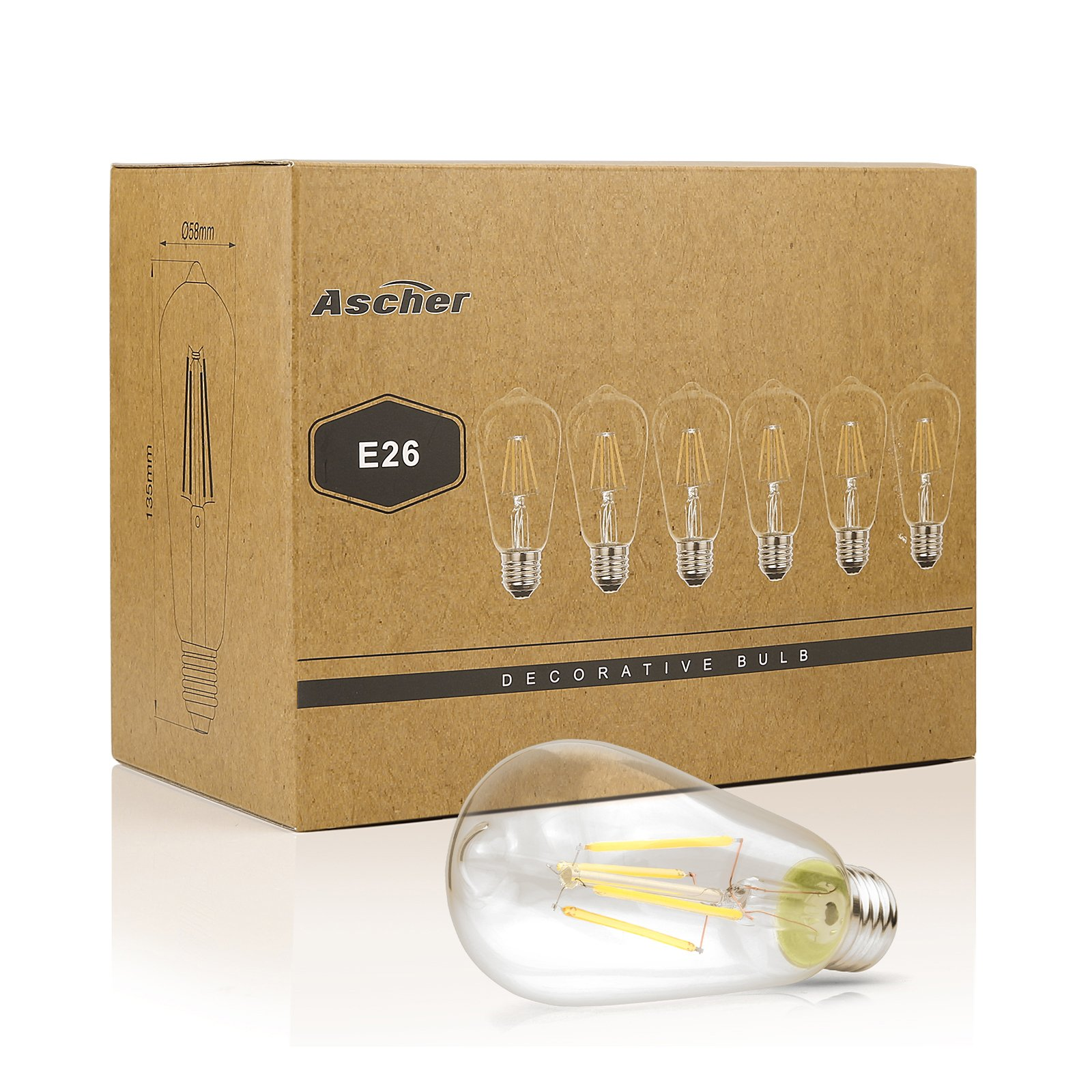 Ascher Vintage LED Edison Bulbs, 6W, Equivalent 60W, High Brightness Daylight White 4000K, ST58 Antique LED Filament Bulbs, E26 Medium Base, Non Dimmable, Clear Glass, Pack of 6 by Ascher (Image #9)
