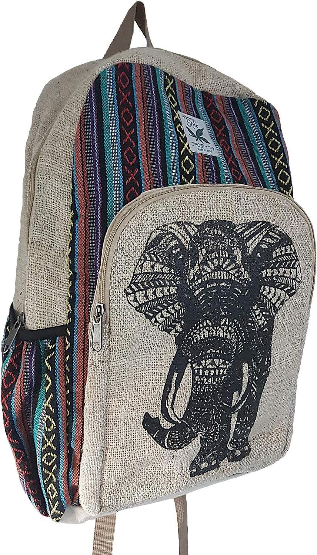 HempStyle Lucky Elephant - Mochila de cáñamo, diseño de Elefante