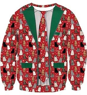 Amazoncom Raisevern Unisex Ugly Christmas Sweatshirt 3d Funny