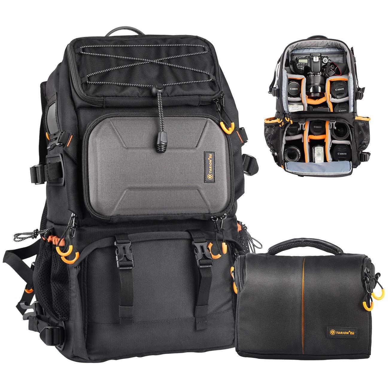 TARION Pro PB-01 Camera Bag Backpack with Shoulder Camera Case Bag 15.6'' Laptop Compartment Rain Cover Waterproof Large Camera Hiking Backpack DSLR Bag