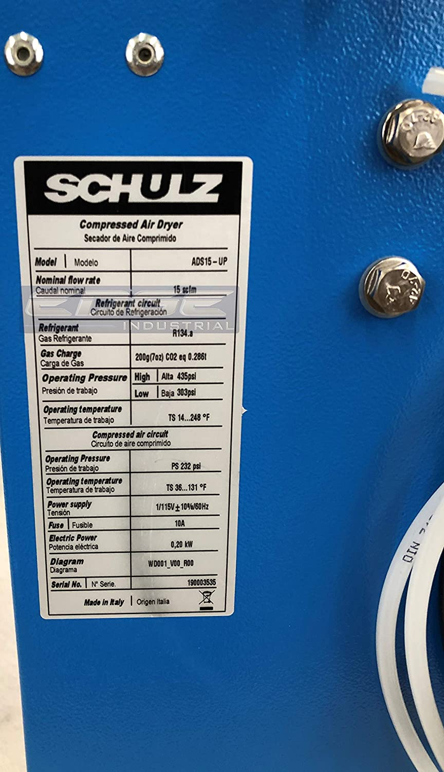 Compressed AIR Systems 15 CFM for 2 /& 3 HP COMPRESSORS with Regulator PRE-Filter Schulz REFRIGERATED AIR Dryer for AIR Compressor