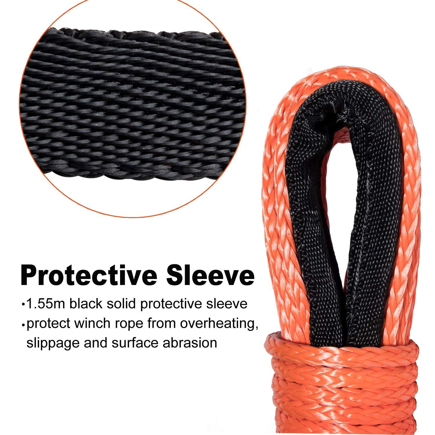 Yoursme Nylon Synthetic Winch Cable Rope with Sheath for SUV ATV UTV Winches Truck Boat Ramsey Car 1//4 x 50-8000LB Orange
