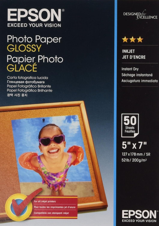 Epson Photo Paper Glossy - Papel fotográfico brillante, 127 x178 ...