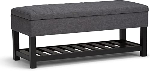 SIMPLIHOME Memphis 43 inch Wide Rectangle Storage Ottoman Bench