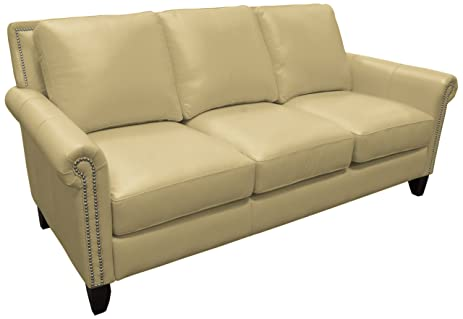 Omnia Leather Benjamin 3 Cushion Sofa In Leather, With Nail Head, Dream  Celery
