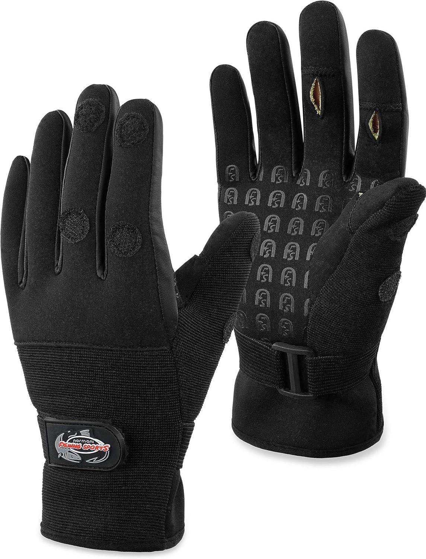 normani Fishing Sports Neopren-Anglerhandschuhe mit schnittfestem Kevlar-Innenmaterial und mit umklappbaren Fingerkuppen Silikon-Innenseite