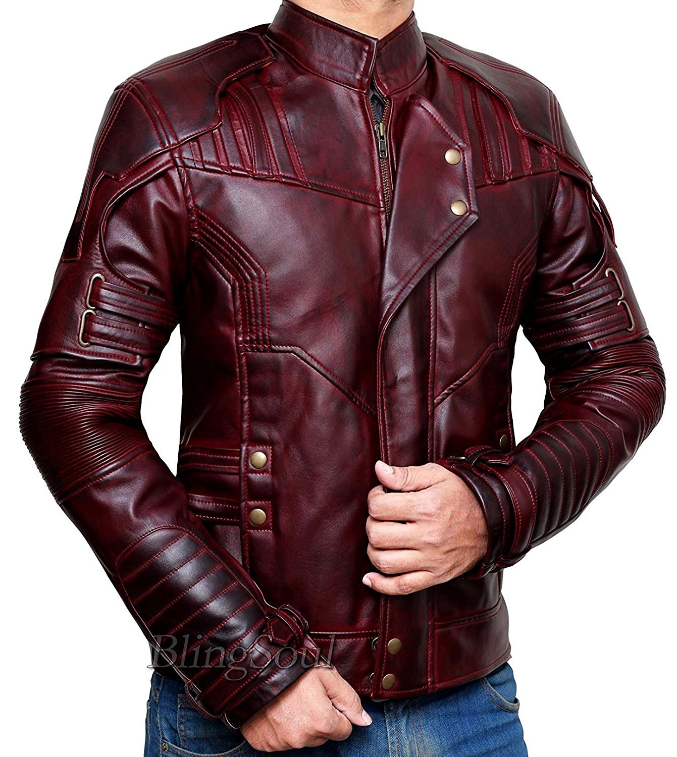 BlingSoul Superhero Costume PU Leather Jacket Collection (S, Star Lord Red) [PU-GLX3-RD-S] by BlingSoul