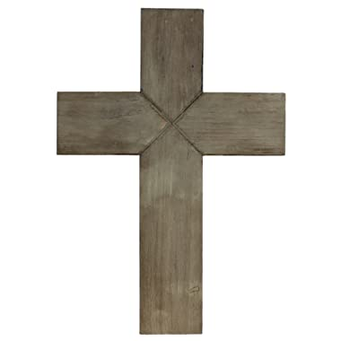 Old River Outdoors Simple 14  Weathered Wood Decorative Wall Cross - Rustic Shabby Chic Chalk Paint Look (Ash Brown)
