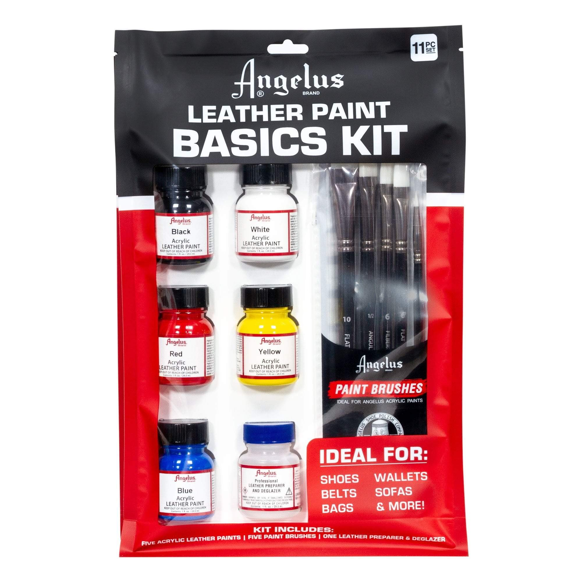 Angelus Leather Paint Basics Kit, Contains 1 Ounce Bottles of Black, White, Red, Blue, Yellow and Preparer, Plus a 5-Piece Angelus Brush Set (799-01-KIT) by Angelus