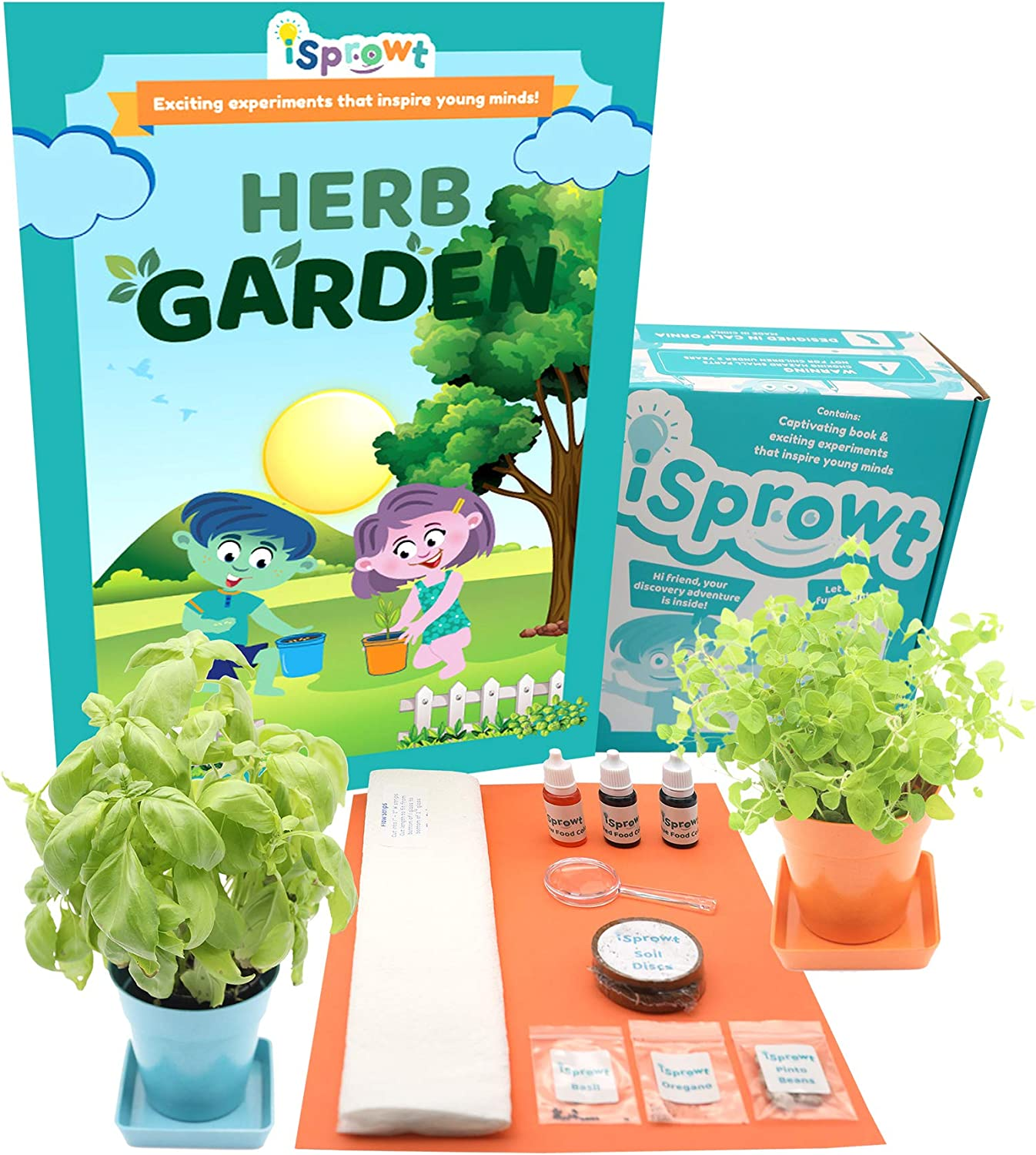 iSprowt Herb Garden Science Kit for Kids Ages 5-11, STEM Activities and Science Experiments for Kids, Gardening Kit for Kids, Earth Science Projects, Educational Kids Toys