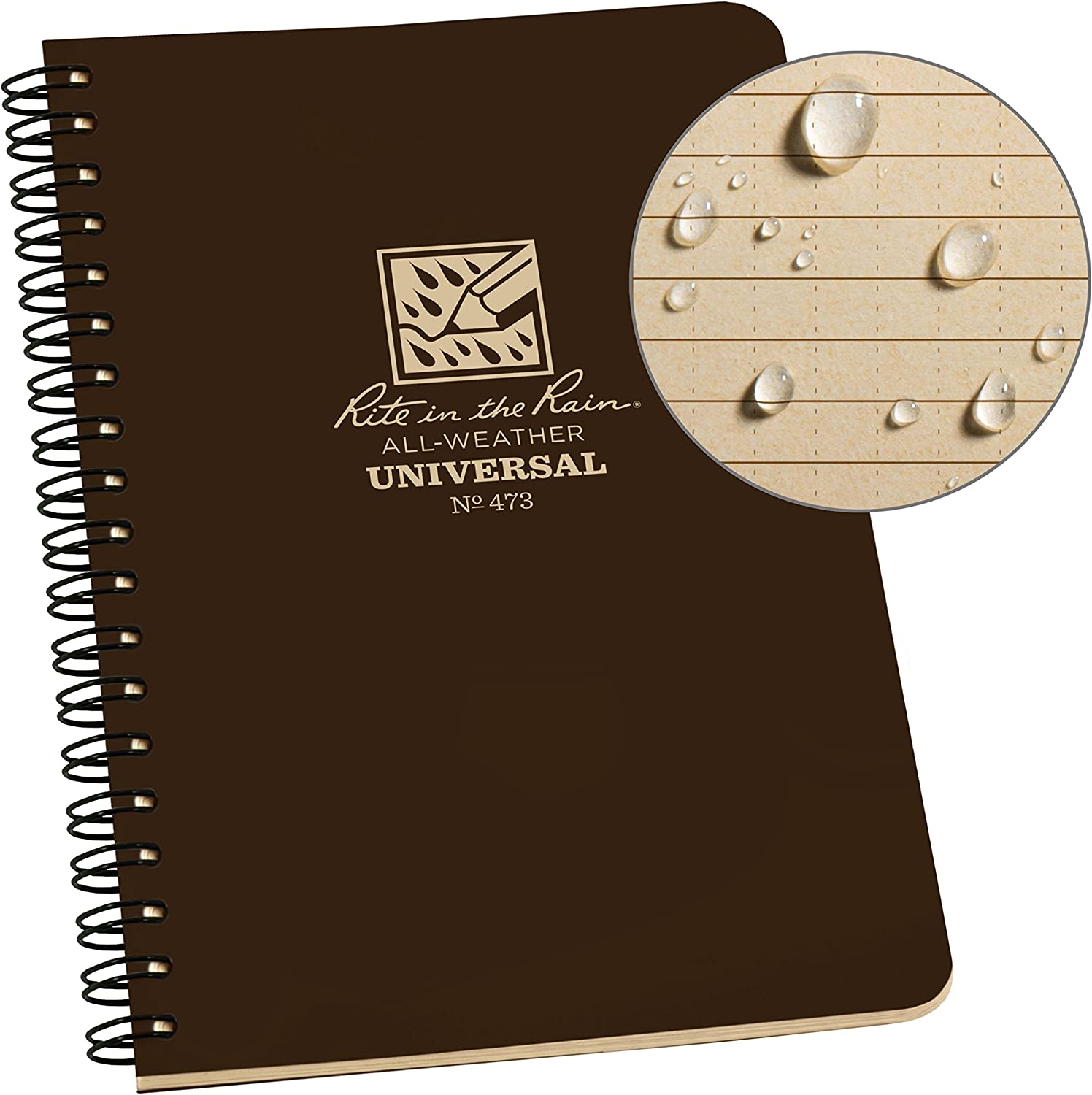"Rite in the Rain All Weather Side Spiral Notebook, 4 5/8"" x 7"", Brown Weatherproof Notepad, Universal Page Pattern (No. 473)"