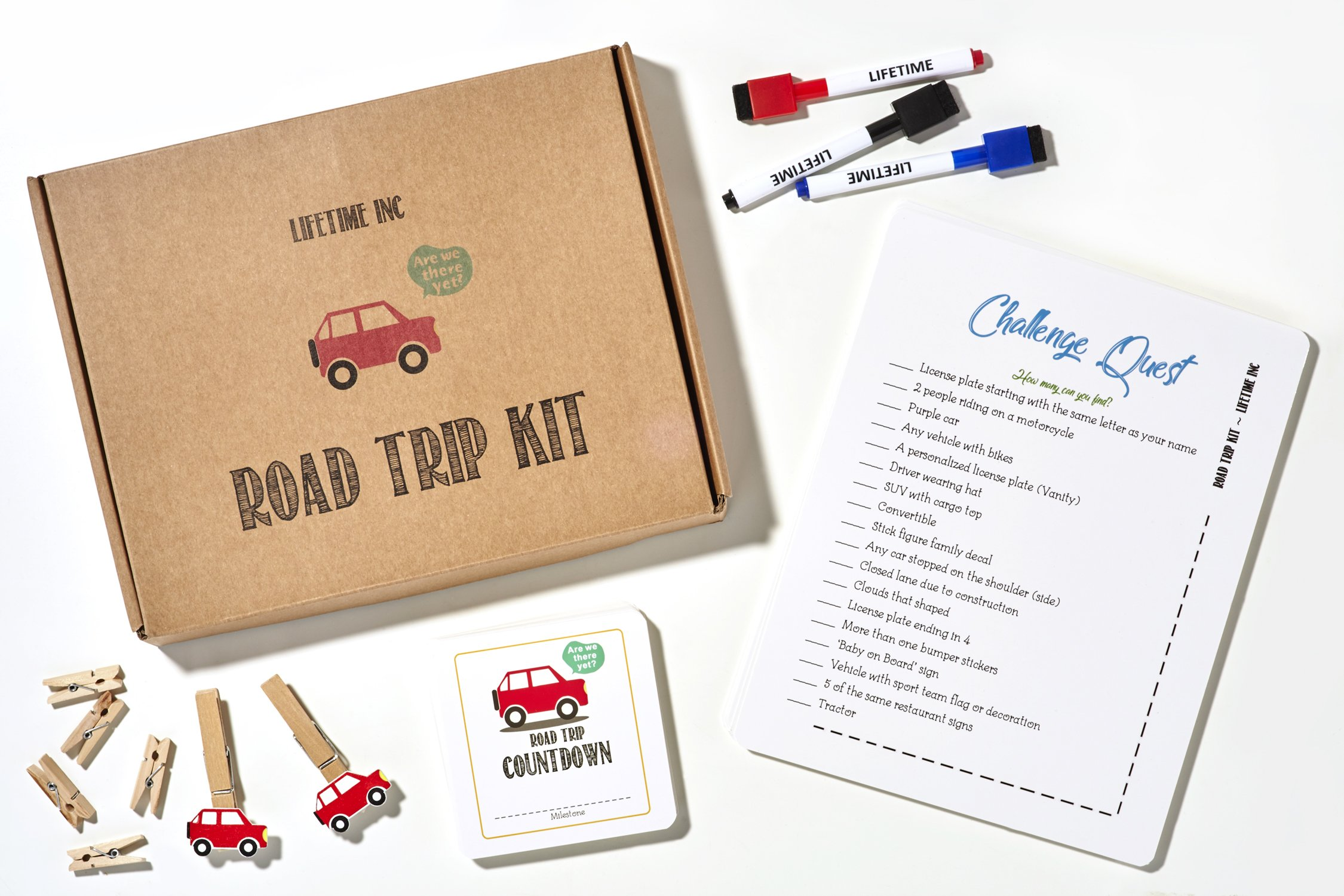 Road Trip Travel Games Activities- Dry Erase Countdown Cards Map Reusable Markers Car Games On the Go For Family Kids Teen Girls Boys License Plate Hangman Tic Tac Toe Dots Battleship Airplane by Lifetime Inc