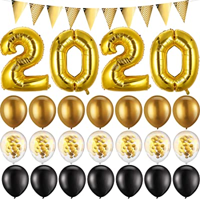 2020 Balloons Gold Confetti Balloon 2020 New Year Party Supply Graduation Party Supply Large 2020 Balloons with Triangle Flags Banner and 21 Pieces Latex Balloons and 131 feet/ 40 m Curling Ribbon: Toys & Games