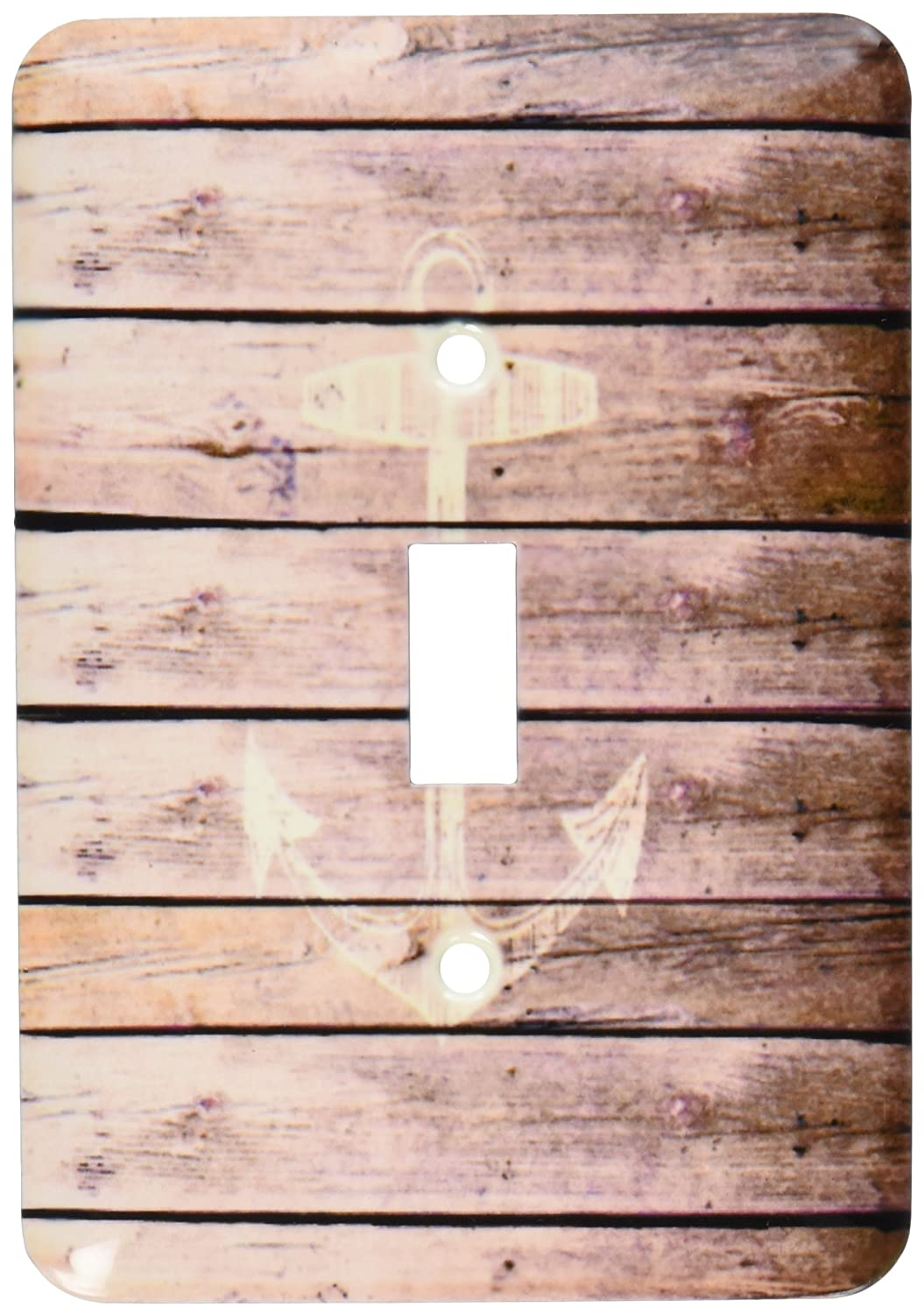 3dRose lsp_120205_1 White Anchor Stamp On Wood Texture Graphic Print Not Actually Wooden Brown Grunge Nautical Theme Single Toggle Switch