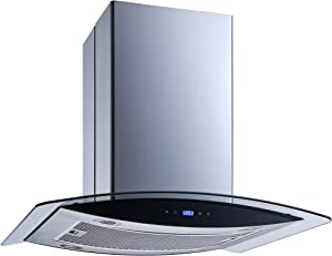 "Winflo 30"" Island Stainless Steel/Glass Convertible Ducted/Ductless Kitchen Range Hood with 450 CFM Touch Control Aluminum Filter and 4x2W ultra bright LED Lights"
