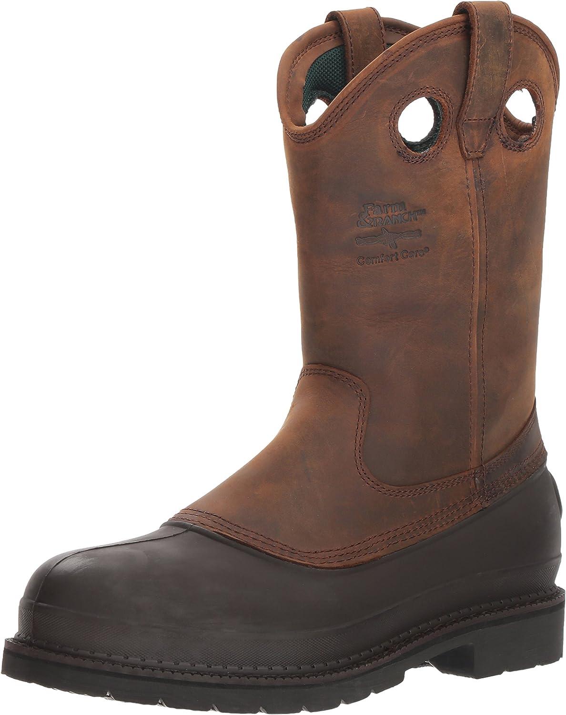 Brown Georgia Boot Mens Muddog Steel Toe Wellington Work Boot-G5655 M9.5