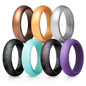 silicone wedding rings for women 7 pack - Wedding Rings Amazon