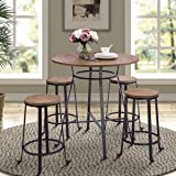 """Harper&Bright Designs 36"""" Height Retro Rustic Pub Bar Table Round Wood Table with Heavy-Duty Metal Legs"""
