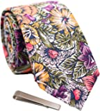 Men's Skinny Tie Floral Print Cotton Necktie and Tie Bar Clip Sets, Great for Weddings, Groom, Groomsmen, Dances, Gifts