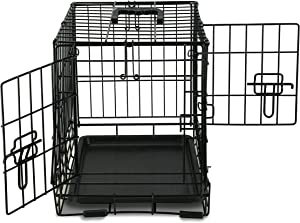 PETSWORLD Double Door Dog Crate, Heavy Duty Folding Metal Dog or Pet Crate Kennel, Size: 22 inch w/ Divider