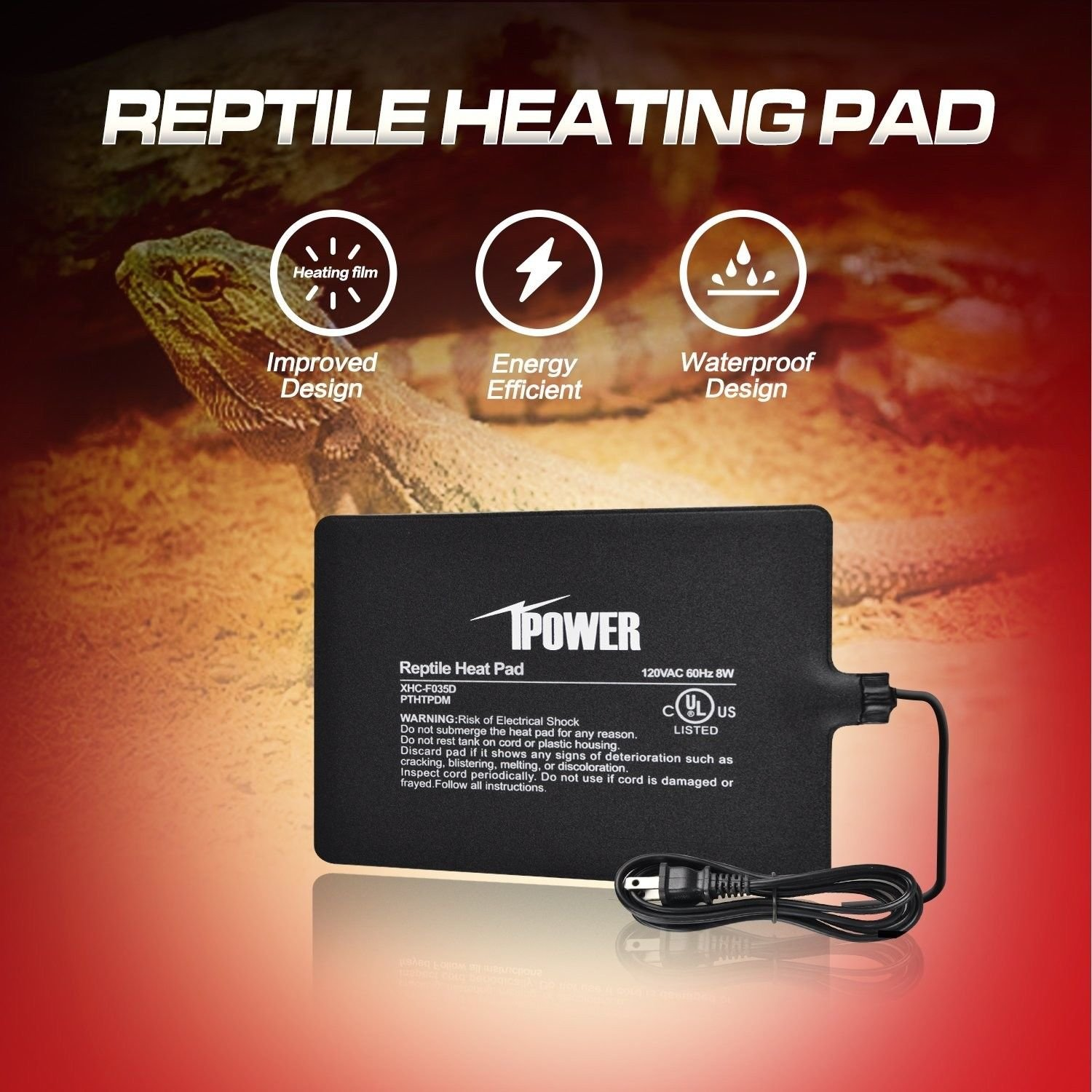 Ipower 6x 8 Watt Terrarium Reptile Heating Pad Wiring Heat Tape Forums Information Under Tank Warmer Heater Mat With Digital Thermostat Pet Supplies