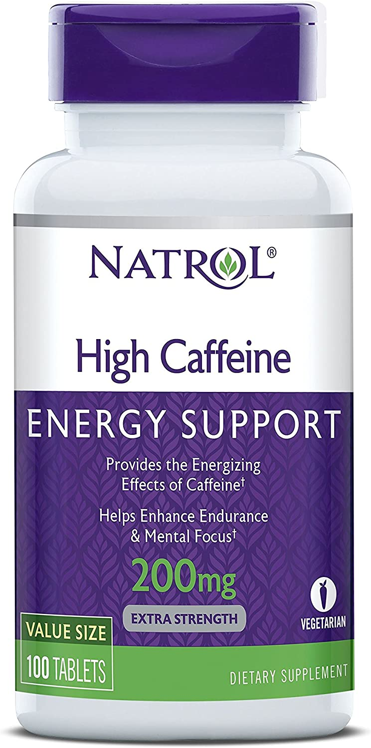 Natrol High Caffeine Tablets, Energy Support, Helps Enhance Endurance and Mental Focus, Caffeine Supplement, Fatigue, Pre-Workout, Extra Strength, 200mg, 100 Count: Health & Personal Care