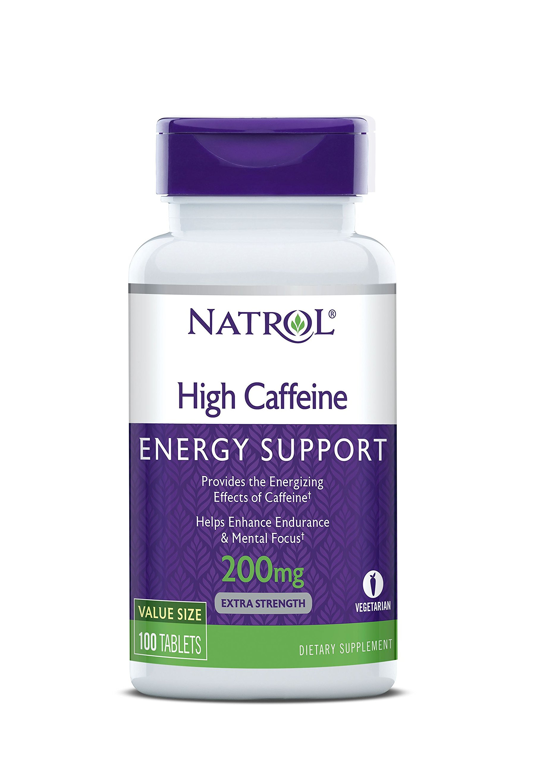 Natrol High Caffeine Tablets, Energy Support, Helps Enhance Endurance and Mental Focus, Caffeine Supplement, Fatigue, Pre-Workout, Extra Strength, 200mg, Unflavored, 100.0 Count