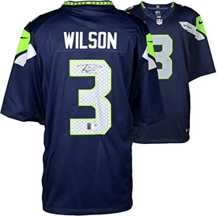 0b0a51e9 Russell Wilson Seattle Seahawks Autographed Nike Limited Blue Jersey ...