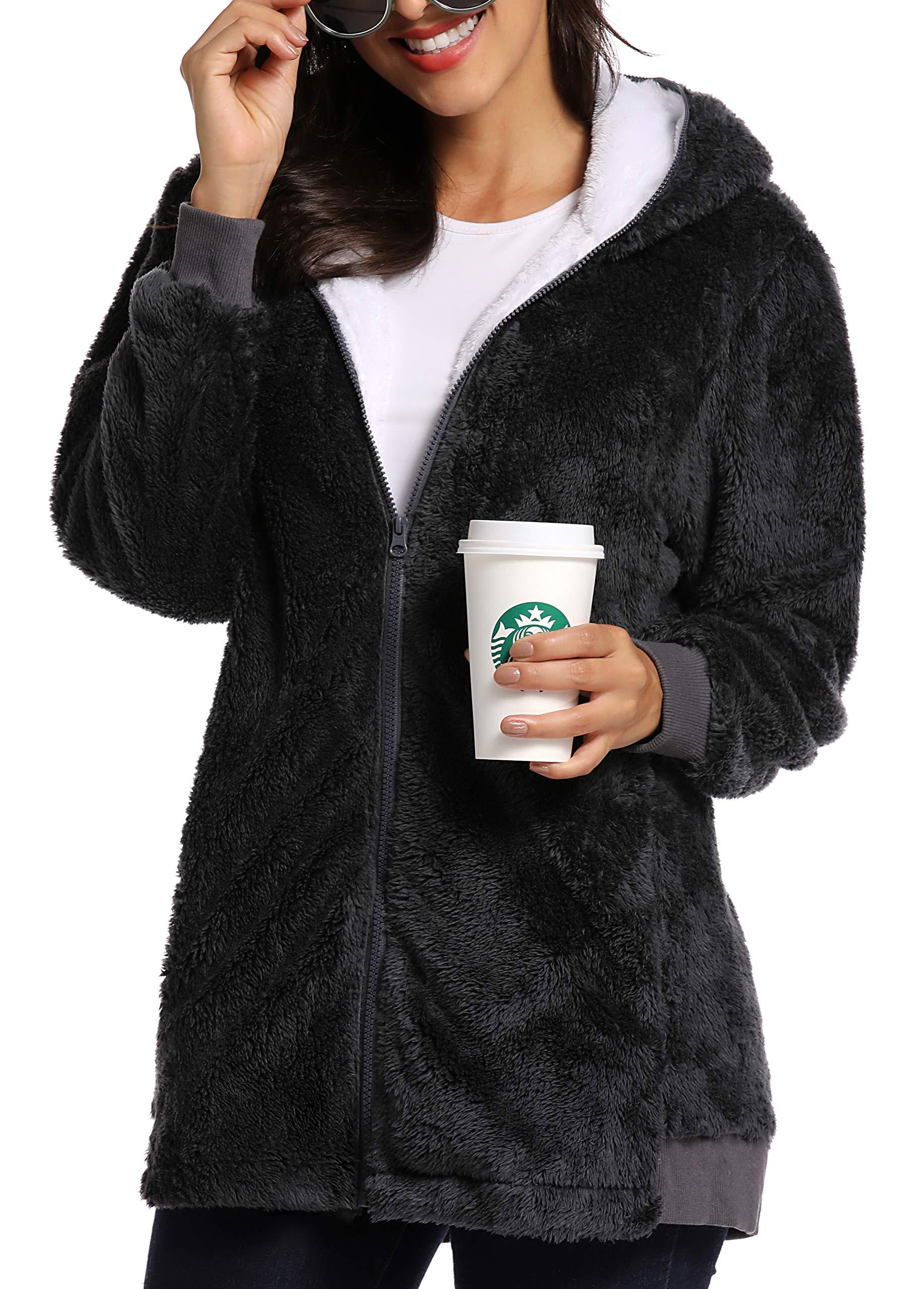 Caissip Fleece Coat for Women,Women's Oversized Zip Up Hooded Jacket Winter Plus Size Sherpa Coat Darkgrey by Caissip