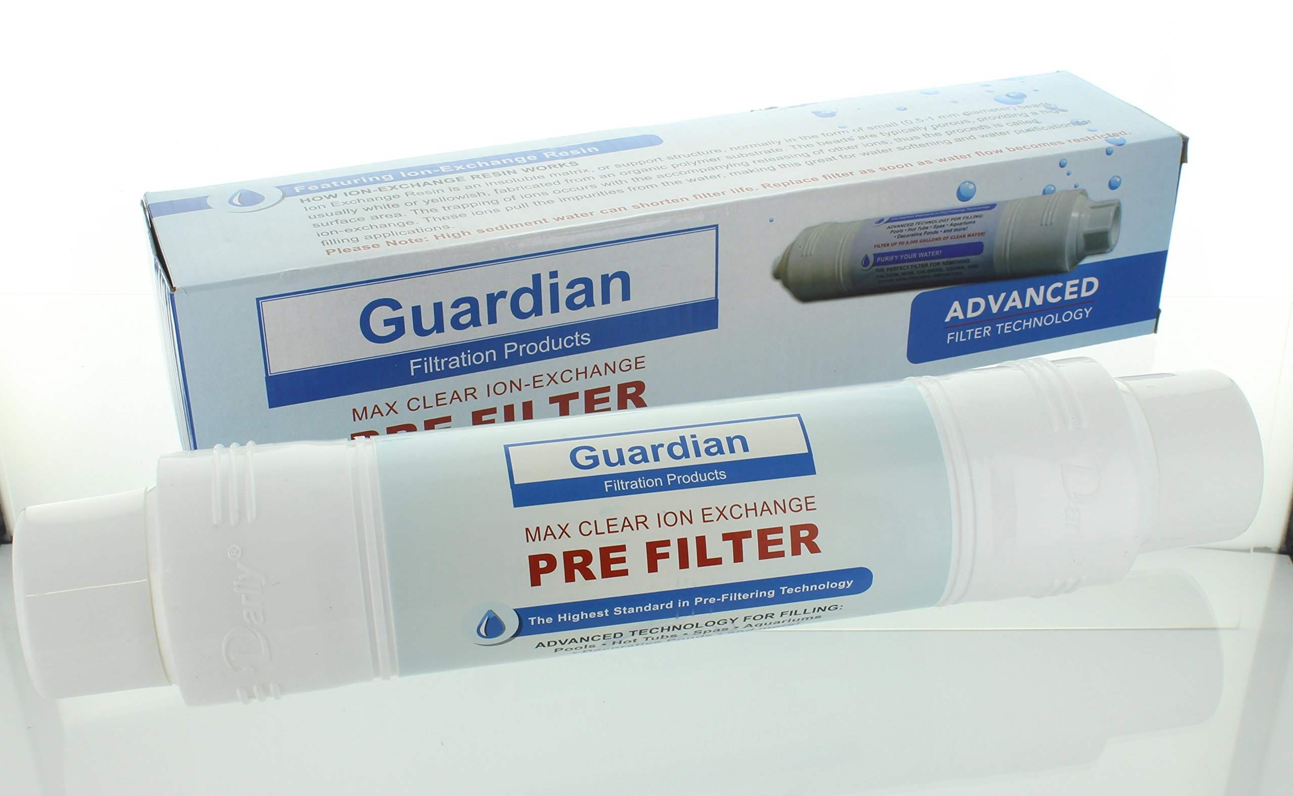 Guardian Filtration Products, Max Clear Ion Exchange Pre-Filter, Garden Hose Filter, Removes Metal, Minerals, Calcium, Fill Pools & Spas