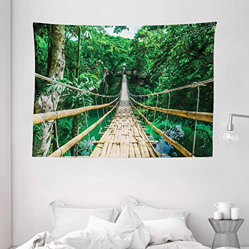 Ambesonne Tropical Tapestry, Bamboo Pedestrian Suspension Bridge Over River in Tropical Forest Philippines, Wide Wall Hanging for Bedroom Living Room Dorm, 80 X 60 , Beige Green