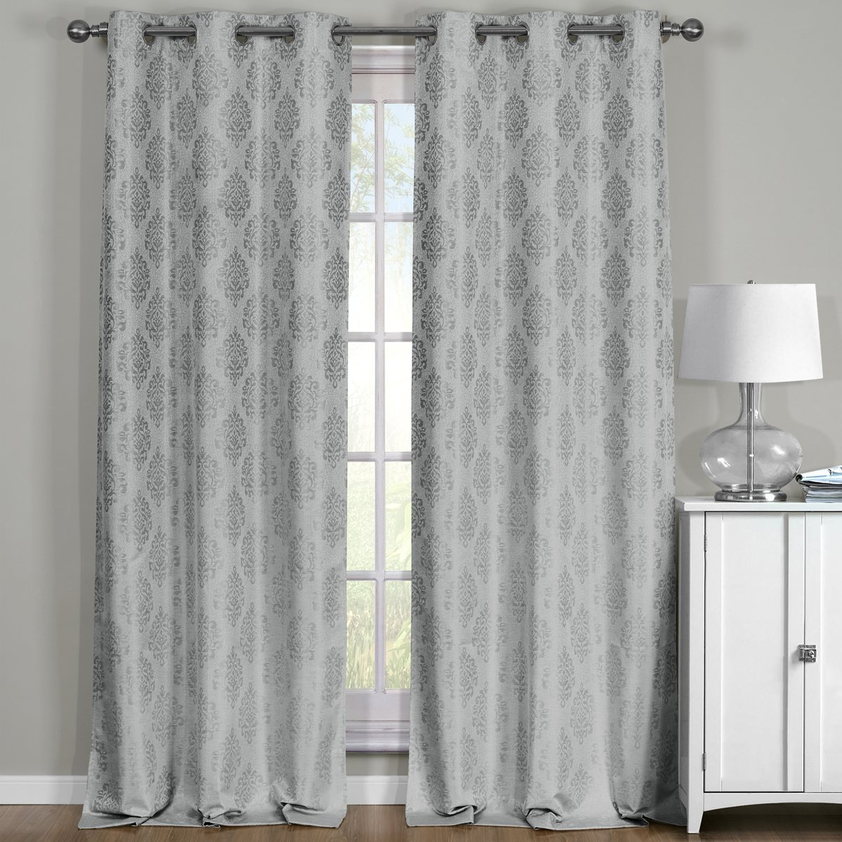 Paisley Jacquard Gray, Top Grommet Blackout Window Curtain Panels, Pair / Set of 2 Panels, 38x84 inches Each, by Royal Hotel