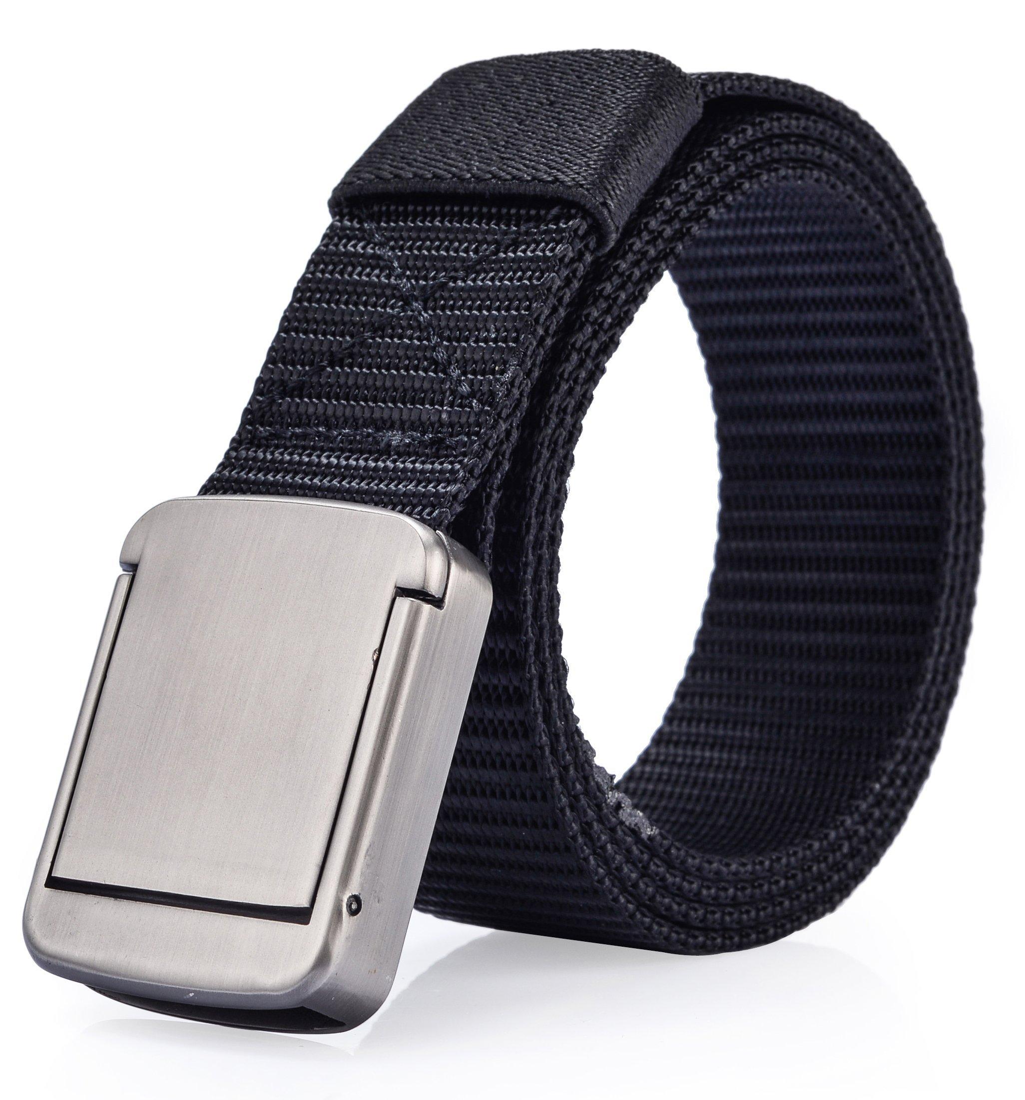 Ayli Men's Business Casual Belt, Nylon Web Belt, Adjustable Length, Metal Buckle, Black, bt6b017bk