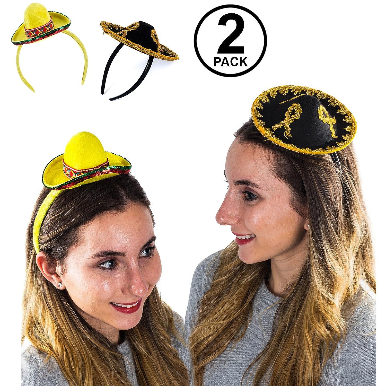 Amazon.com  Tigerdoe Sombrero Party Hats - 2 Pack - Cinco De Mayo Headbands  - Mini Hat Headband - Fiesta Party  Clothing 2cd20e3294e
