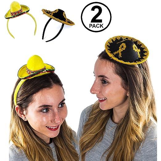 376991f35ce Amazon.com  Tigerdoe Sombrero Party Hats - 2 Pack - Cinco De Mayo Headbands  - Mini Hat Headband - Fiesta Party  Clothing