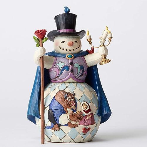 Jim Shore Disney Enchanted Christmas Beauty and Beast Snowman Figurine 4051973