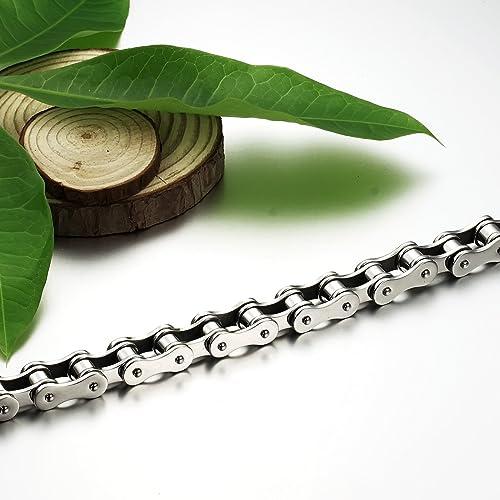 JewelryWe Bijoux Bracelet M/écanisme Homme Cha/îne Motard Biker Acier Inoxydable Fantaisie Couleur Argent Longueur 20.5cm avec Sac Cadeau