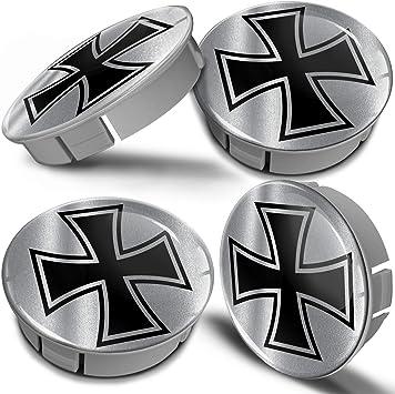 Biomar Labs 4 X 60mm Kunststoff Nabenkappen Kappen Silber Iron Cross Eisernes Kreuz Silver Felgendeckel Radkappen Radnabendeckel Nabendeckel Auto Tuning Cs 13 Auto