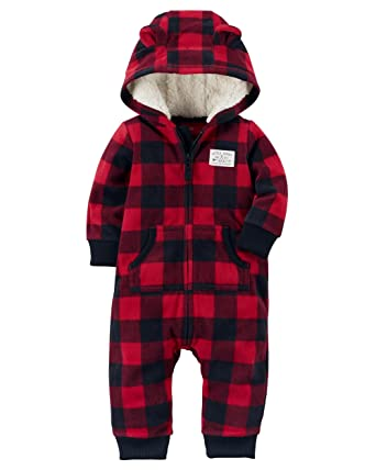 b4437665a carter s Baby Boys  One Piece Checker Print Fleece Jumpsuit 24 ...