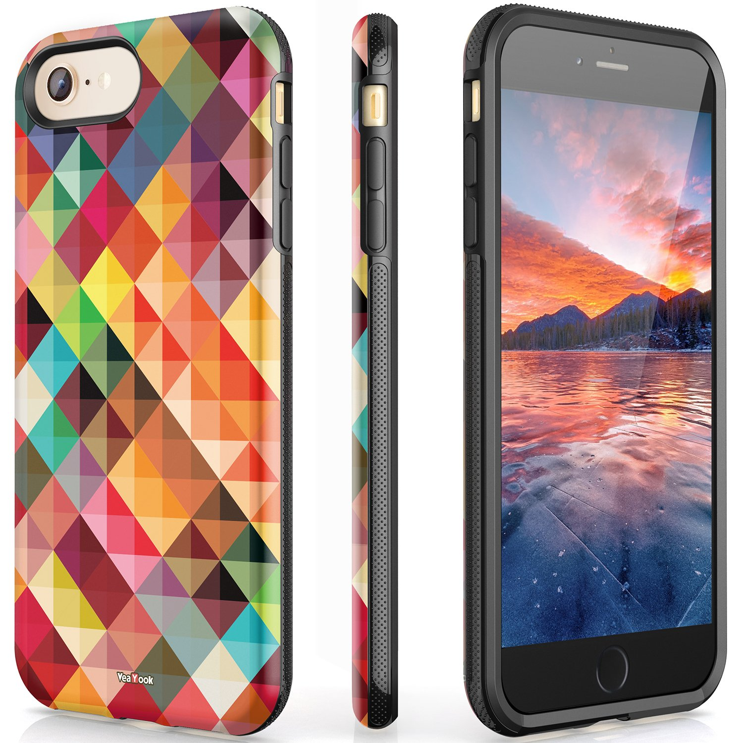 VeaYook for iPhone 6 iPhone 6s Womens Case with Ring Holder Kickstand Shockproof Full Protection Anti-Scratch Impact Resistant Protective Durable Slim Dual Layer (Glittery Geometric)