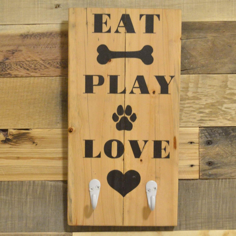 Handmade Wooden Sign Leash Hook