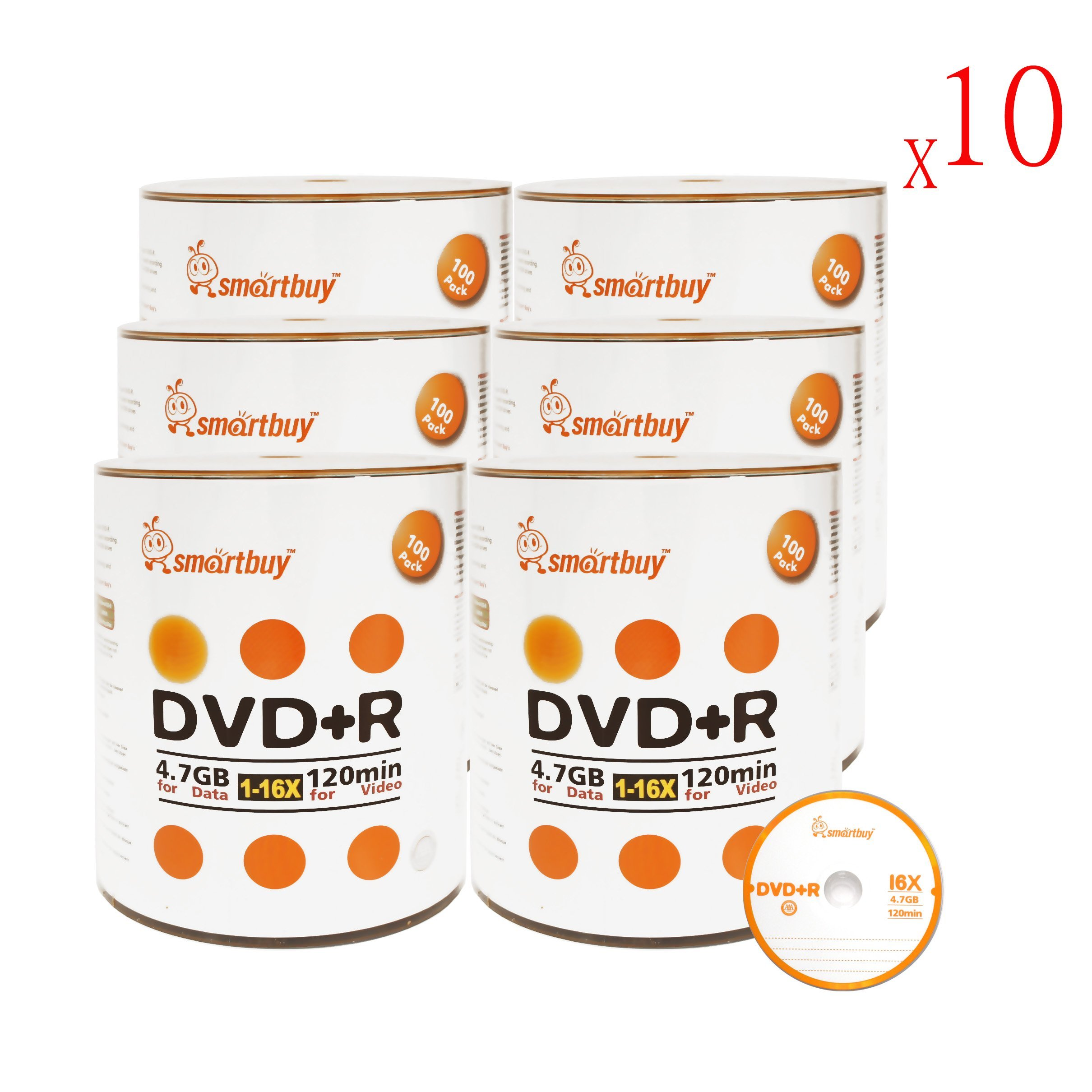 Smartbuy 6000-disc 4.7gb/120min 16x DVD+R Logo Top Blank Data Recordable Media Disc