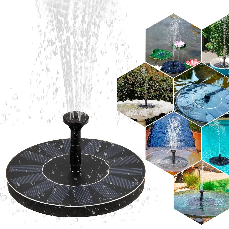 SUREH Mini Pompe Solaire pour Fontaine /à Eau Flottante avec 4 t/êtes darrosage pour Bain doiseaux d/écoration de Jardin Petit Bassin